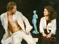 Production image. Statues of David. Factory Space Theatre Company, 2003. Directed by Roz Riley. Tap Gallery (Darlinghurst). Pictured (l-r): Ben Brock, Madeleine James