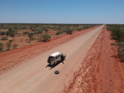 Freddy blows a tyre 300km from Alice Springs